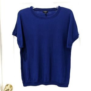Talbots Cobalt Blue Sweater Knit Short Sleeve sz M